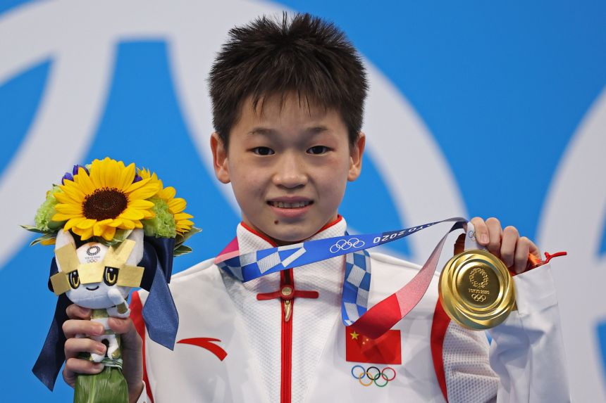 14-year-old Quan sets record to win women's diving gold