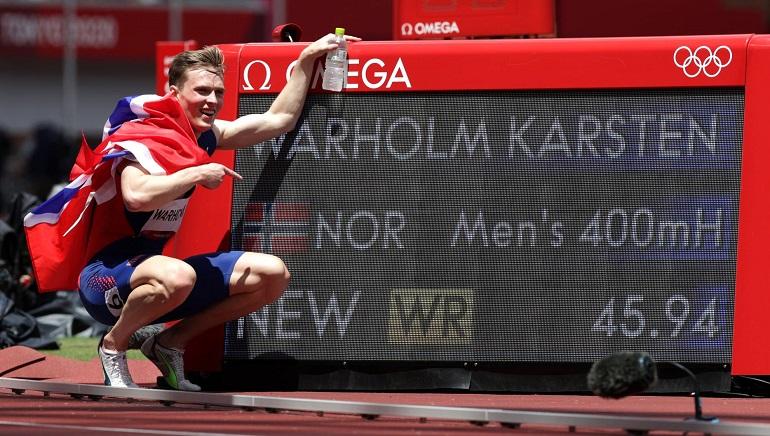 Norway's Warholm breaks the worlds record in men's 400m hurdles