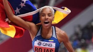 Venezuela's Yulimar Rojas breaks the world record in the triple jump